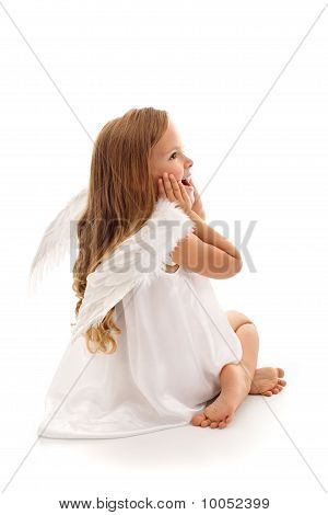 Little Surprised Angel Girl - Isolated