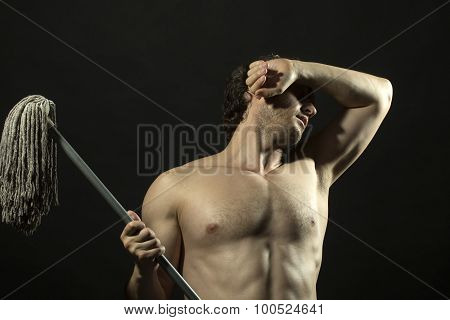 Attractive Man With Mop