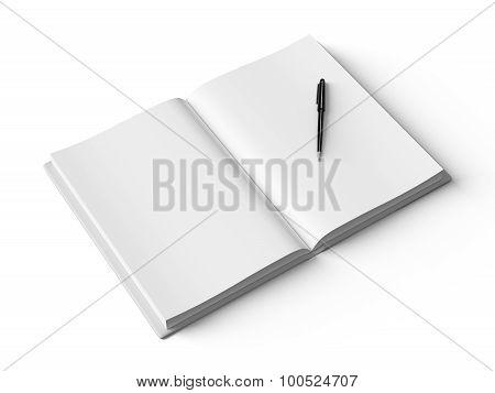 Black pen on white open book, on white background.
