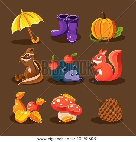 Autumn forest, woodland animals, flowers