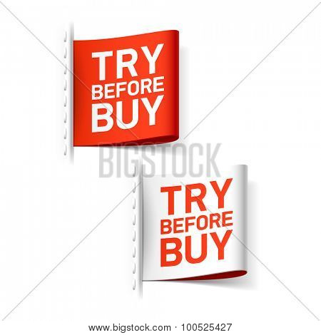 Try before buy label