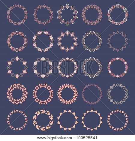 Set Of Decorative Circular Elements For Design In Ethnic Style