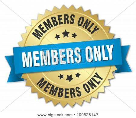 Members Only 3D Gold Badge With Blue Ribbon