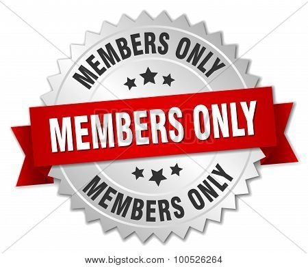 Members Only 3D Silver Badge With Red Ribbon