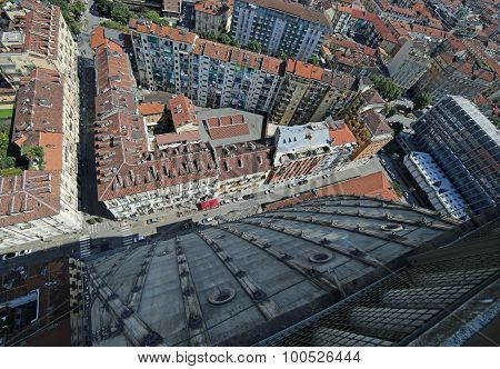 Aerial  View Of The City Of Turin In Italy From The Highest Building