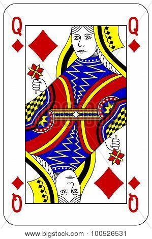 Poker Playing Card Queen Diamond