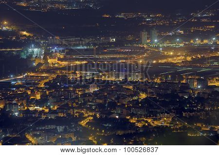 Night Aerial View Of The European Metropolis With Many City Lights