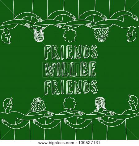 Happy Friends Doodle Illustration