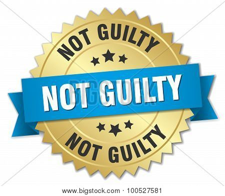 Not Guilty 3D Gold Badge With Blue Ribbon