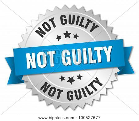Not Guilty 3D Silver Badge With Blue Ribbon