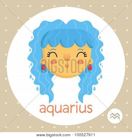 Aquarius Zodiac Sign, Girl With Water Drops