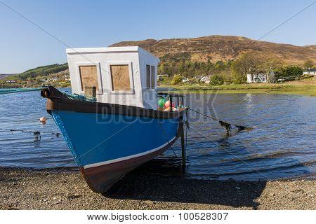 Boat Portree Shore Ocean Scotland