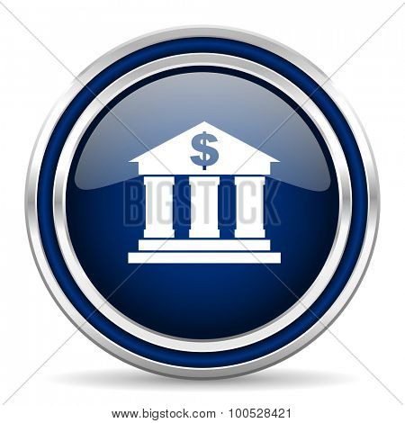 bank blue glossy web icon modern computer design with double metallic silver border on white background with shadow for web and mobile app