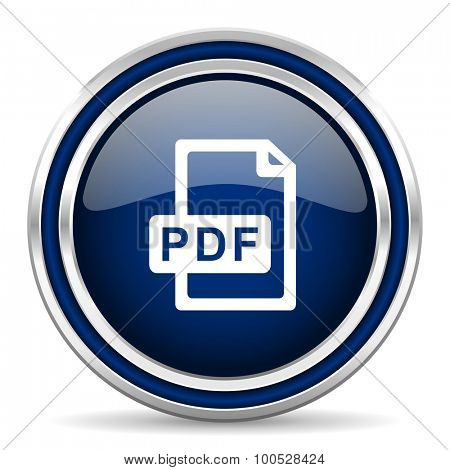 pdf file blue glossy web icon modern computer design with double metallic silver border on white background with shadow for web and mobile app