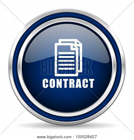 contract blue glossy web icon modern computer design with double metallic silver border on white background with shadow for web and mobile app