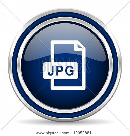 jpg file blue glossy web icon modern computer design with double metallic silver border on white background with shadow for web and mobile app