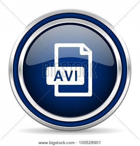 avi file blue glossy web icon modern computer design with double metallic silver border on white background with shadow for web and mobile app