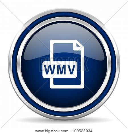 wmv file blue glossy web icon  modern computer design with double metallic silver border on white background with shadow for web and mobile app round internet button for business usage