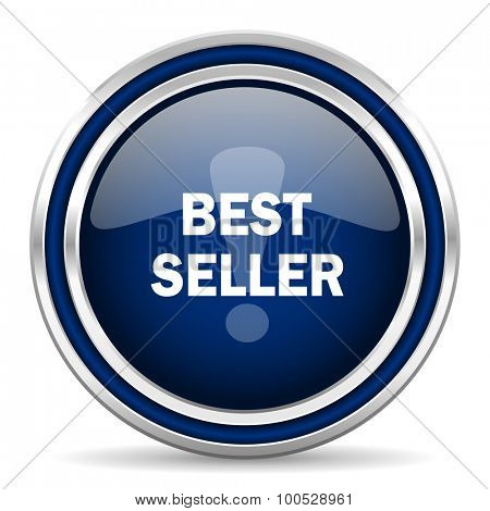 best seller blue glossy web icon modern computer design with double metallic silver border on white background with shadow for web and mobile app round internet button for business usage