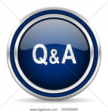 question answer blue glossy web icon modern computer design with double metallic silver border on white background with shadow for web and mobile app round internet button for business usage