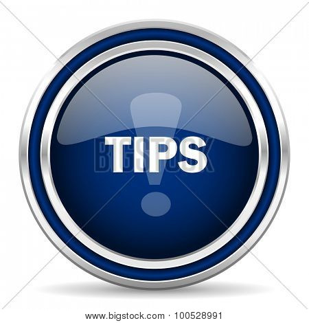 tips blue glossy web icon modern computer design with double metallic silver border on white background with shadow for web and mobile app round internet button for business usage