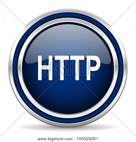 http blue glossy web icon modern computer design with double metallic silver border on white background with shadow for web and mobile app round internet button for business usage