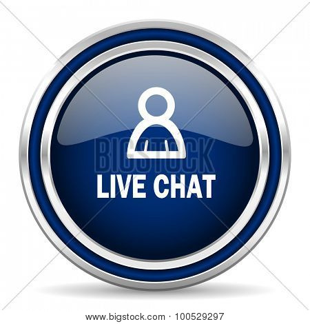 live chat blue glossy web icon modern computer design with double metallic silver border on white background with shadow for web and mobile app round internet button for business usage