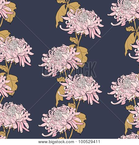 Floral Seamless Pattern With Chrysanthemum On Dark Blue Background