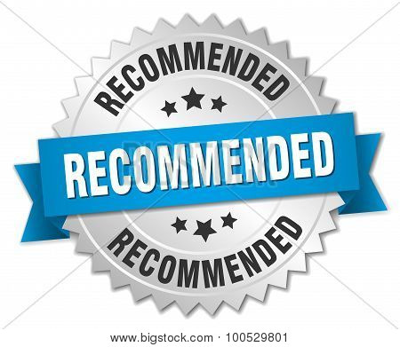 Recommended 3D Silver Badge With Blue Ribbon