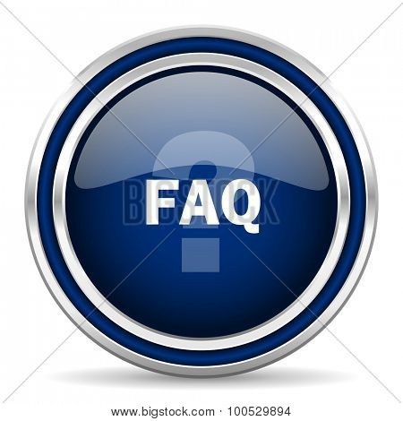 faq blue glossy web icon modern computer design with double metallic silver border on white background with shadow for web and mobile app round internet button for business usage