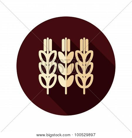 Spikelets Of Wheat Flat Icon With Long Shadow