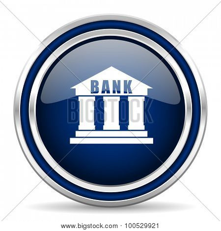 bank blue glossy web icon modern computer design with double metallic silver border on white background with shadow for web and mobile app round internet button for business usage