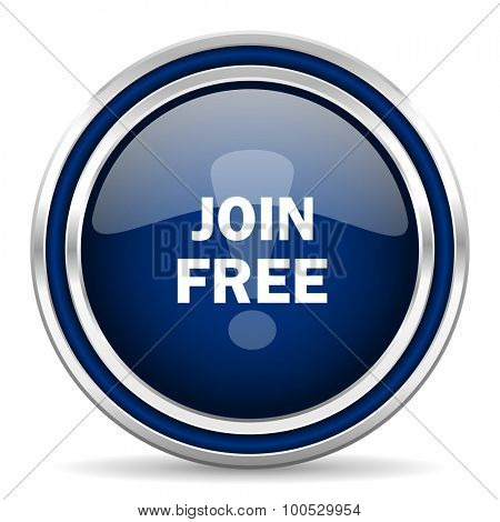 join free blue glossy web icon modern computer design with double metallic silver border on white background with shadow for web and mobile app round internet button for business usage