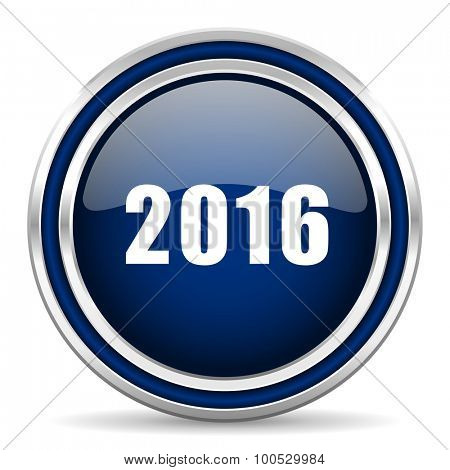 year 2016 blue glossy web icon modern computer design with double metallic silver border on white background with shadow for web and mobile app round internet button for business usage