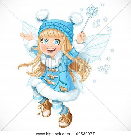 Cute Little Winter Fairy Girl In A Blue Coat With A Magic Wand I