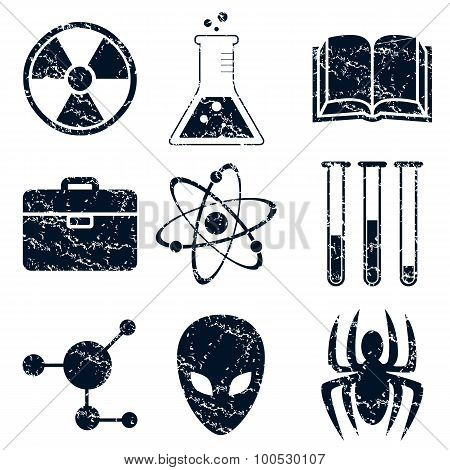 Science icons set, grunge