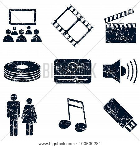 Media entertainment icons set, grunge