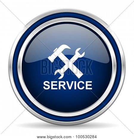 service blue glossy web icon modern computer design with double metallic silver border on white background with shadow for web and mobile app round internet button for business usage