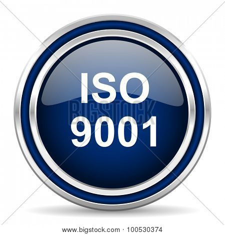 iso 9001 blue glossy web icon modern computer design with double metallic silver border on white background with shadow for web and mobile app round internet button for business usage