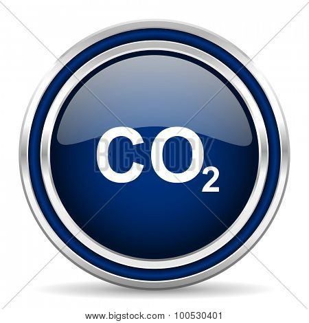 carbon dioxide blue glossy web icon modern computer design with double metallic silver border on white background with shadow for web and mobile app round internet button for business usage