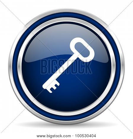 key blue glossy web icon modern computer design with double metallic silver border on white background with shadow for web and mobile app round internet button for business usage