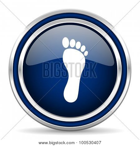 foot blue glossy web icon modern computer design with double metallic silver border on white background with shadow for web and mobile app round internet button for business usage