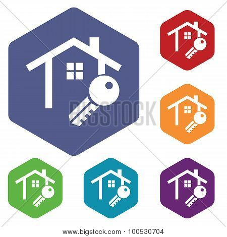 House key icon, hexagon set