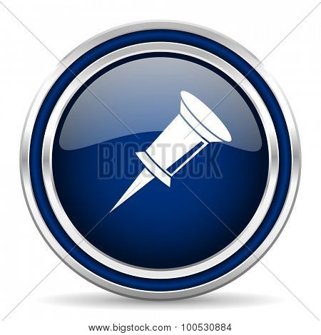 pin blue glossy web icon modern computer design with double metallic silver border on white background with shadow for web and mobile app round internet button for business usage