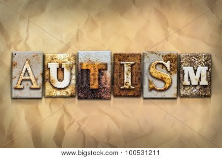 Autism Concept Rusted Metal Type