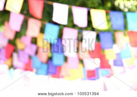 Festive flags on the street, blur background