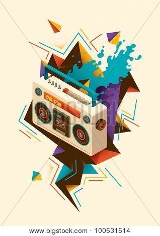 Abstract illustration with isometric radio. Vector illustration.