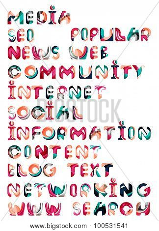 Social media in the internet - words, tags. Flowing wave design of letters