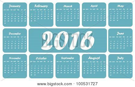 Blue 2016 calendar