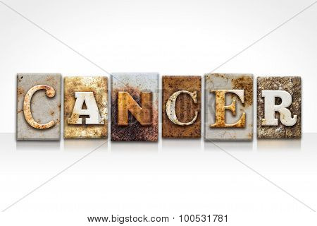 Cancer Letterpress Concept Isolated On White